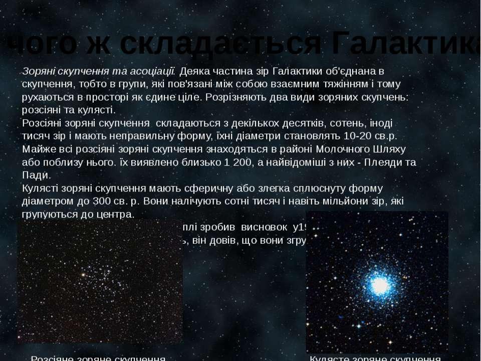 З чого ж складається Галактика? Зоряні скупчення та асоціації.Деяка частина ...