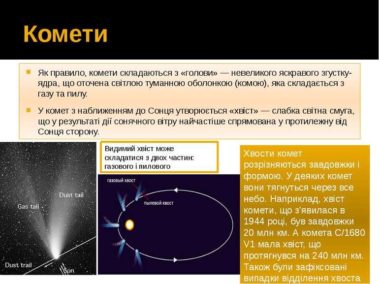 Комети Як правило, комети складаються з «голови»— невеликого яскравого згуст...