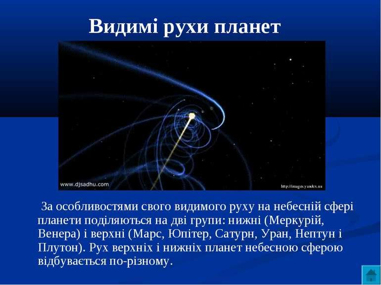 Видимі рухи планет За особливостями свого видимого руху на небесній сфері пла...