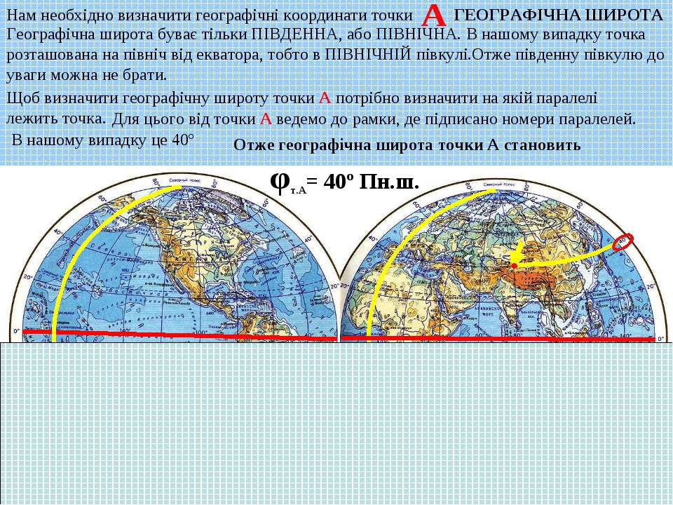 Щоб визначити географічну широту точки А потрібно визначити на якій паралелі ...