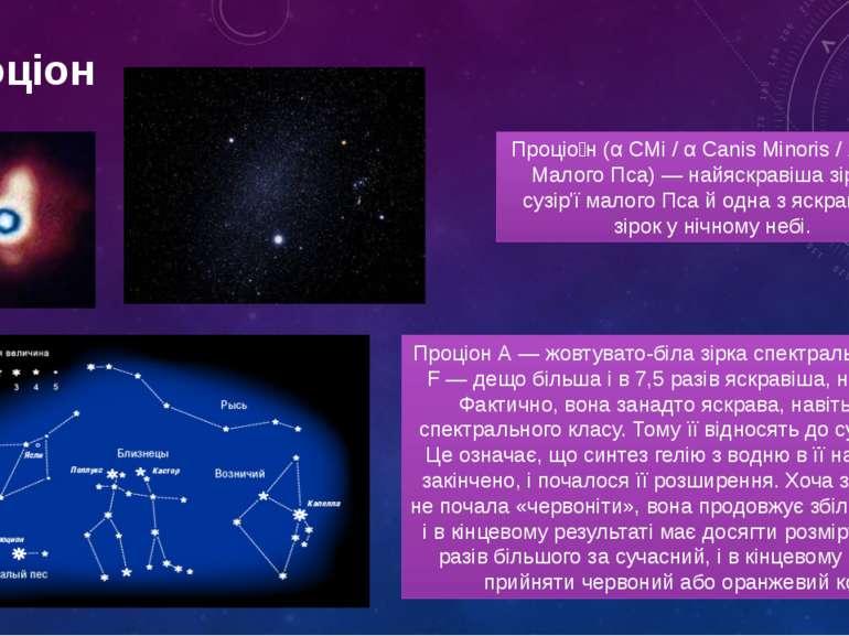 проціон Проціо н (α CMi / α Canis Minoris / Альфа Малого Пса) — найяскравіша ...