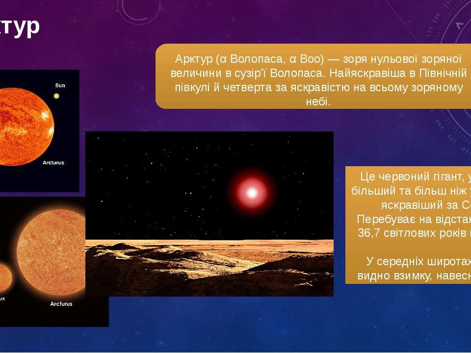 арктур Арктур (α Волопаса, α Boo) — зоря нульової зоряної величини в сузір'ї ...