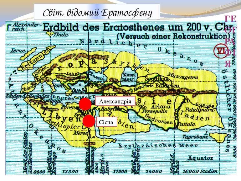 ГЕОГРАФІЯ Світ, відомий Ератосфену Александрія Сієна