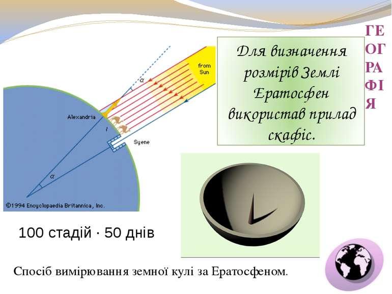 ГЕОГРАФІЯ Для визначення розмірів Землі Ератосфен використав прилад скафіс. С...