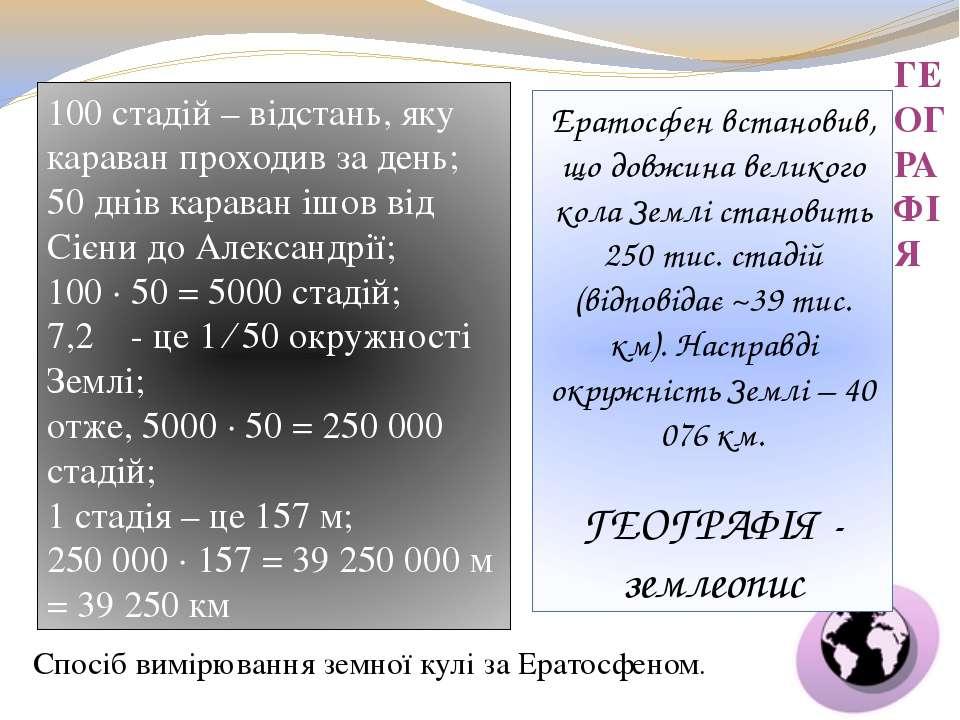 ГЕОГРАФІЯ Ератосфен встановив, що довжина великого кола Землі становить 250 т...