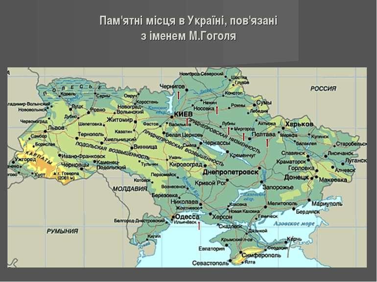 Пам'ятні місця в Україні, пов'язані з іменем М.Гоголя