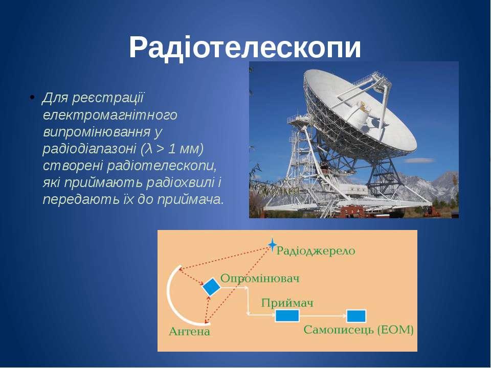 Радіотелескопи Для реєстрації електромагнітного випромінювання у радіодіапазо...