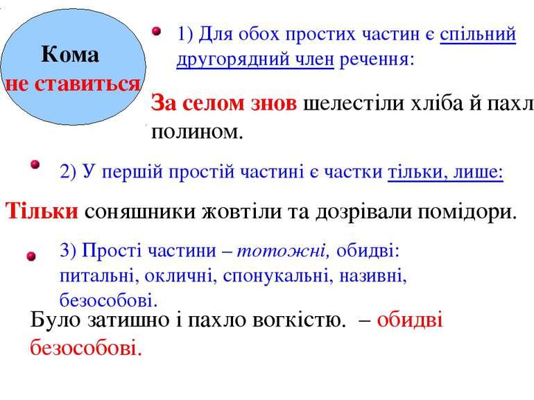 Кома не ставиться 1) Для обох простих частин є спільний другорядний член рече...
