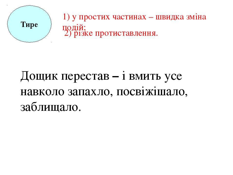 Тире 1) у простих частинах – швидка зміна подій; 2) різке протиставлення. Дощ...