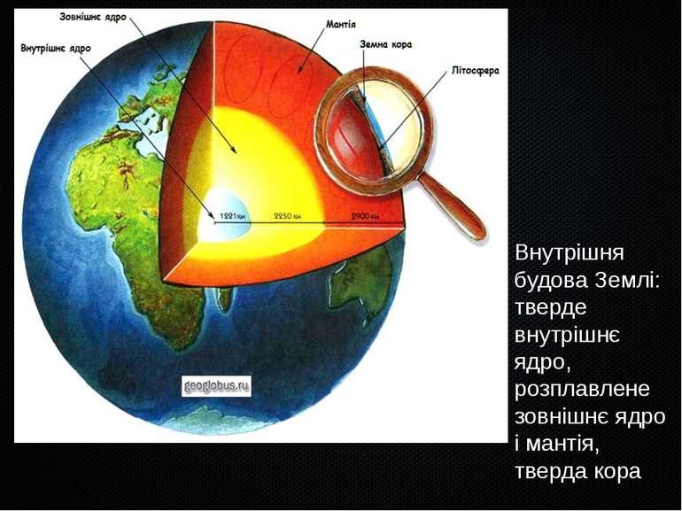 Внутрішня будова Землі: тверде внутрішнє ядро, розплавлене зовнішнє ядро і ма...