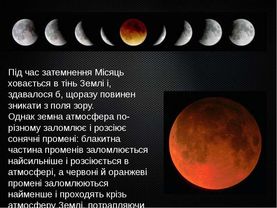 Під час затемнення Місяць ховається в тінь Землі і, здавалося б, щоразу повин...