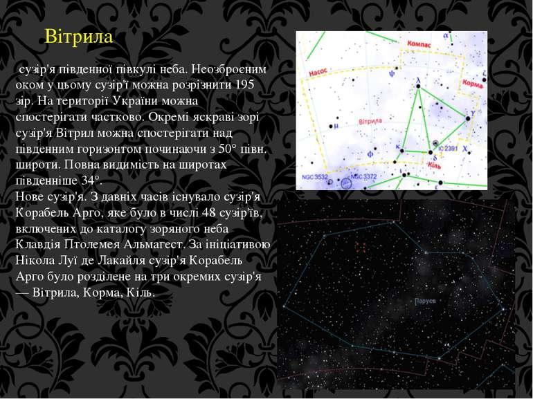 Вітрила сузір'я південної півкулі неба. Неозброєним оком у цьому сузір'ї можн...