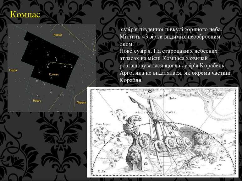 Компас сузір'я південної півкулі зоряного неба. Містить 43 зірки видимих неоз...