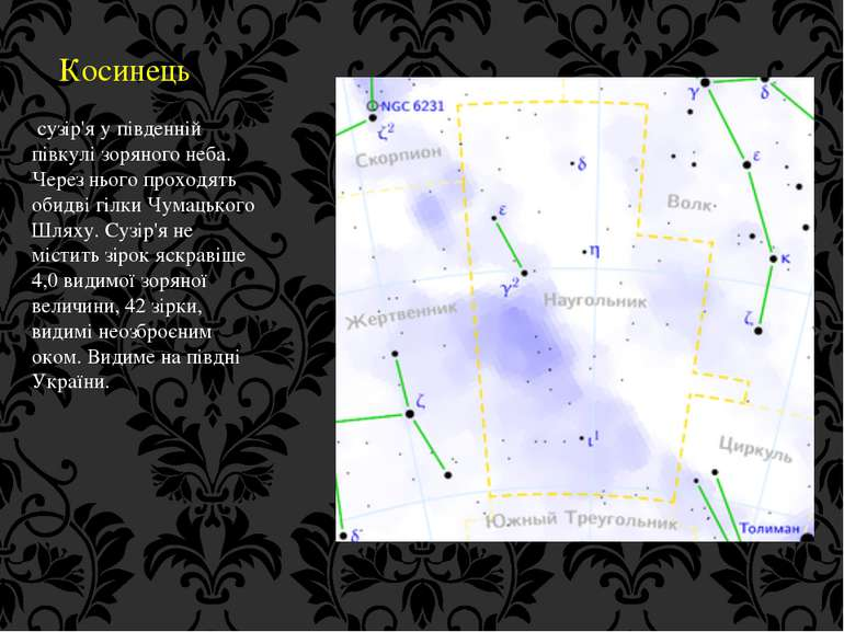 Косинець сузір'я у південній півкулі зоряного неба. Через нього проходять оби...