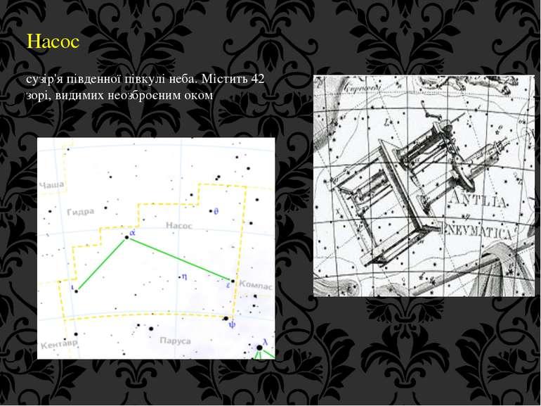 Насос сузір'я південної півкулі неба. Містить 42 зорі, видимих неозброєним оком
