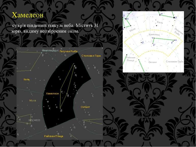 Хамелеон сузір'я південної півкулі неба. Містить 31 зорю, видиму неозброєним ...