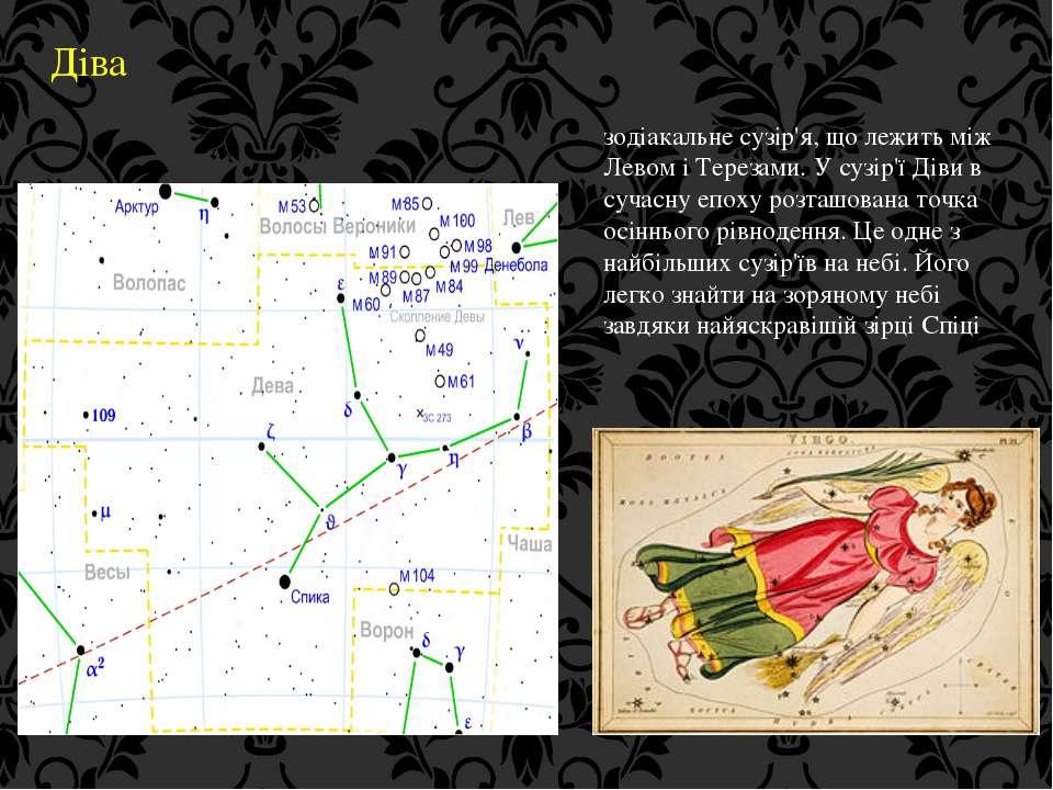 Діва зодіакальне сузір'я, що лежить між Левом і Терезами. У сузір'ї Діви в су...