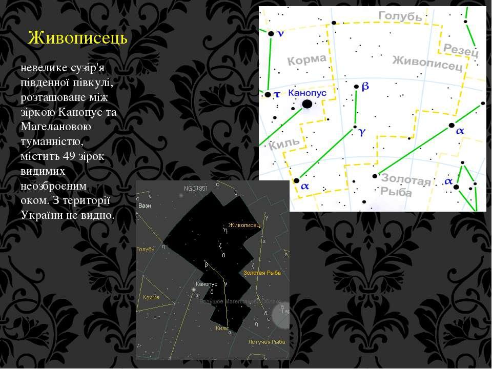 Живописець невелике сузір'я південної півкулі, розташоване між зіркою Канопус...