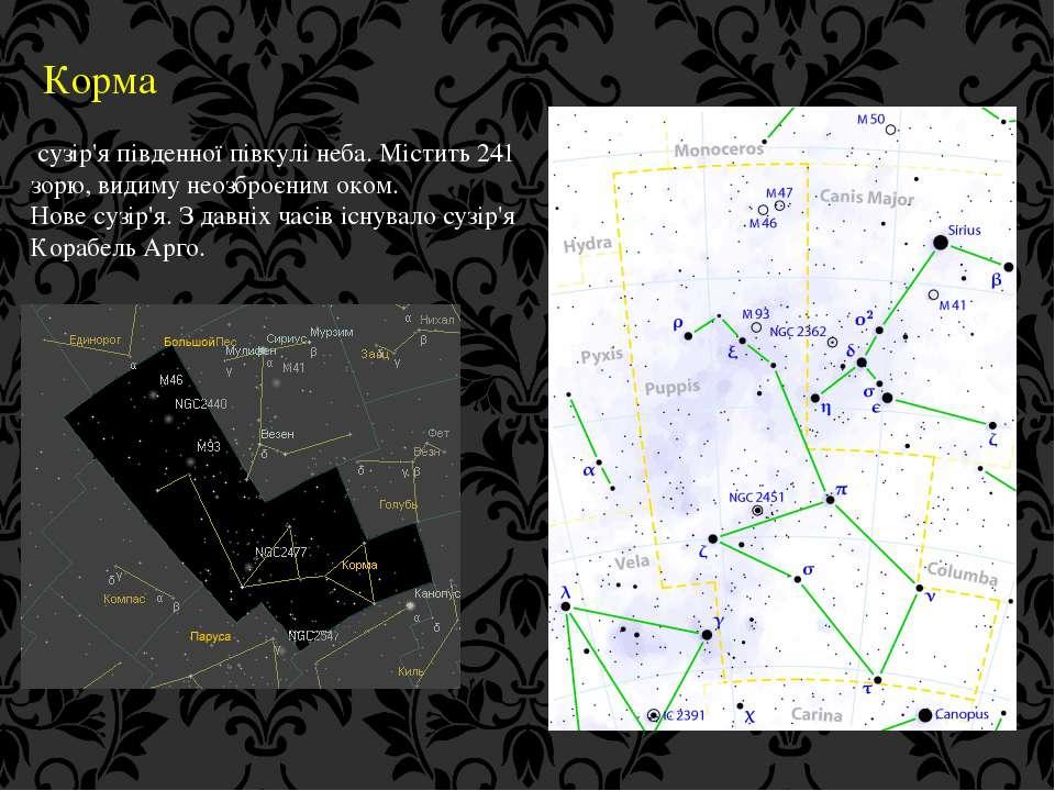 Корма сузір'я південної півкулі неба. Містить 241 зорю, видиму неозброєним ок...