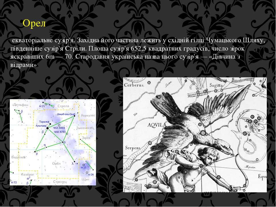 Орел екваторіальне сузір'я. Західна його частина лежить у східній гілці Чумац...