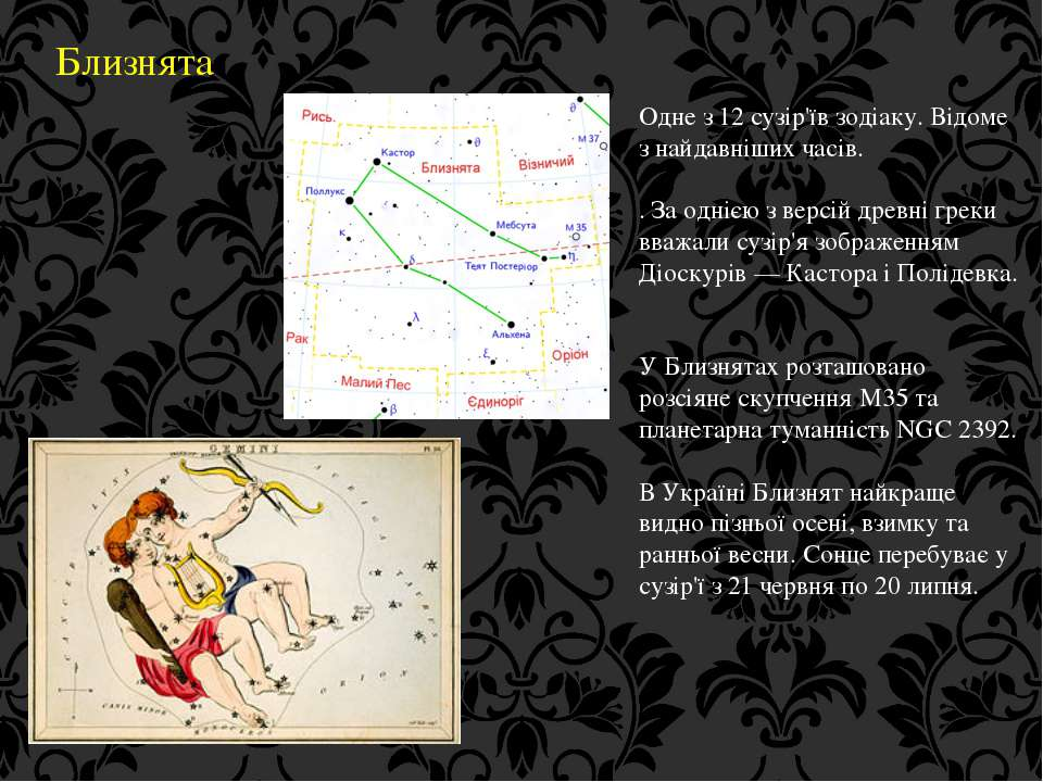 Близнята Одне з 12 сузір'їв зодіаку. Відоме з найдавніших часів. . За однією ...