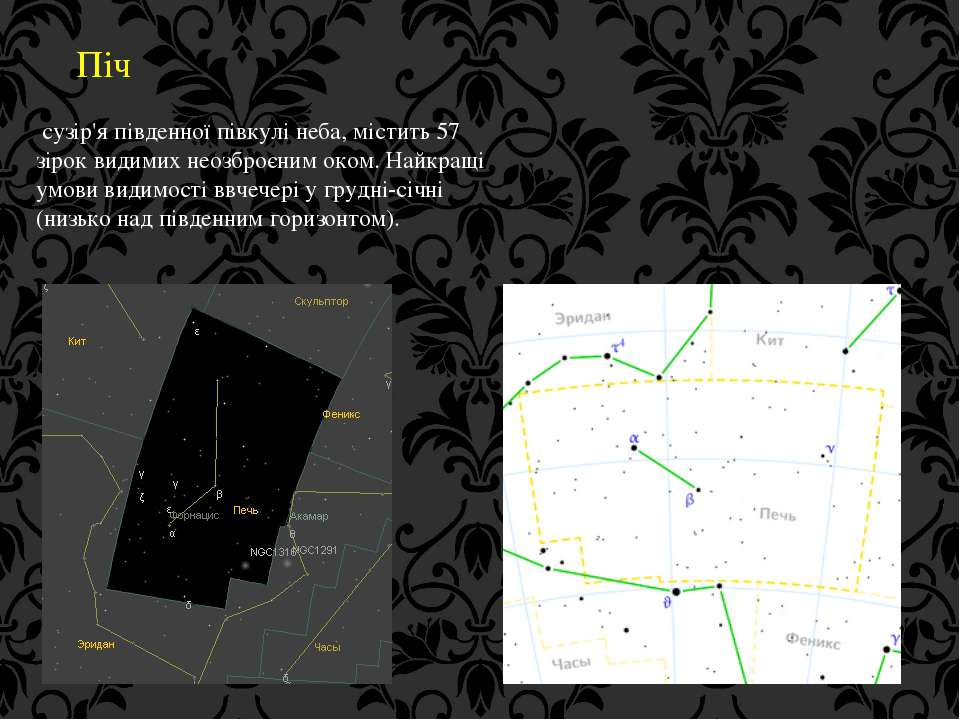 Піч сузір'я південної півкулі неба, містить 57 зірок видимих неозброєним оком...