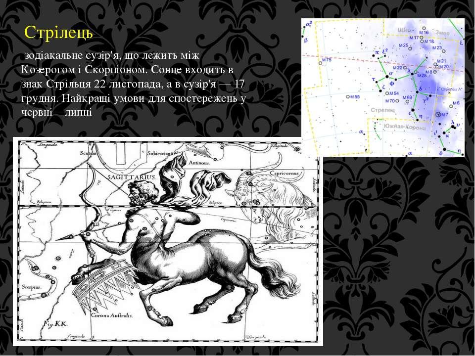 Стрілець зодіакальне сузір'я, що лежить між Козерогом і Скорпіоном. Сонце вхо...
