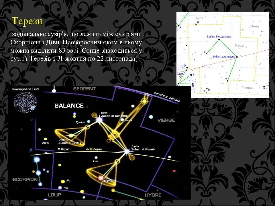 Терези зодіакальне сузір'я, що лежить між сузір'ями Скорпіона і Діви. Неозбро...