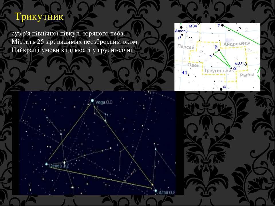 Трикутник сузір'я північної півкулі зоряного неба. Містить 25 зір, видимих не...