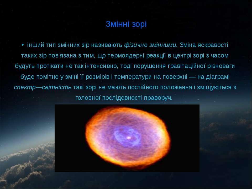 Змінні зорі інший тип змінних зір називають фізично змінними. Зміна яскравост...