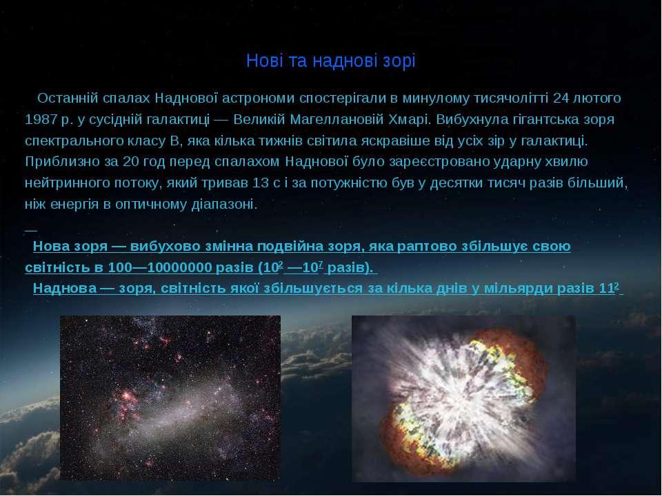 Нові та наднові зорі Останній спалах Наднової астрономи спостерігали в минуло...