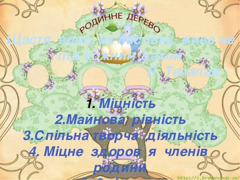 Щастя, воно, як ластівка, живе не під кожним дахом Л. Талалай Міцність 2.Майн...