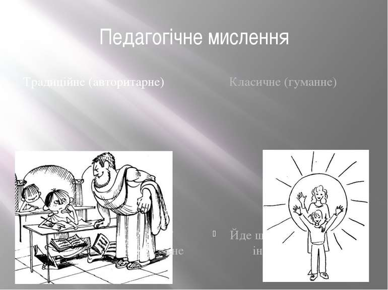Педагогічне мислення Традиційне (авторитарне) Зайняте узагальненням сформован...
