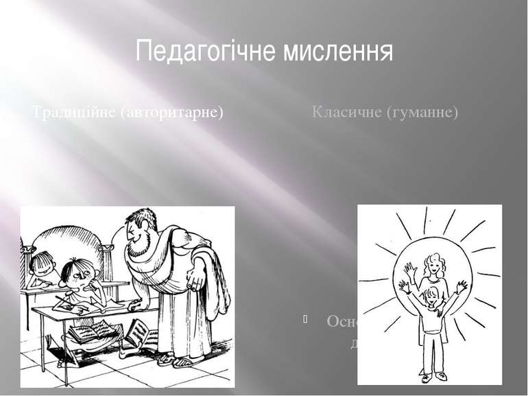 Педагогічне мислення Традиційне (авторитарне) Основане на емпіричному матеріа...