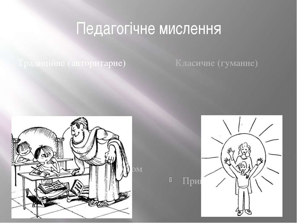 Педагогічне мислення Традиційне (авторитарне) Задовольняється обліком психоло...