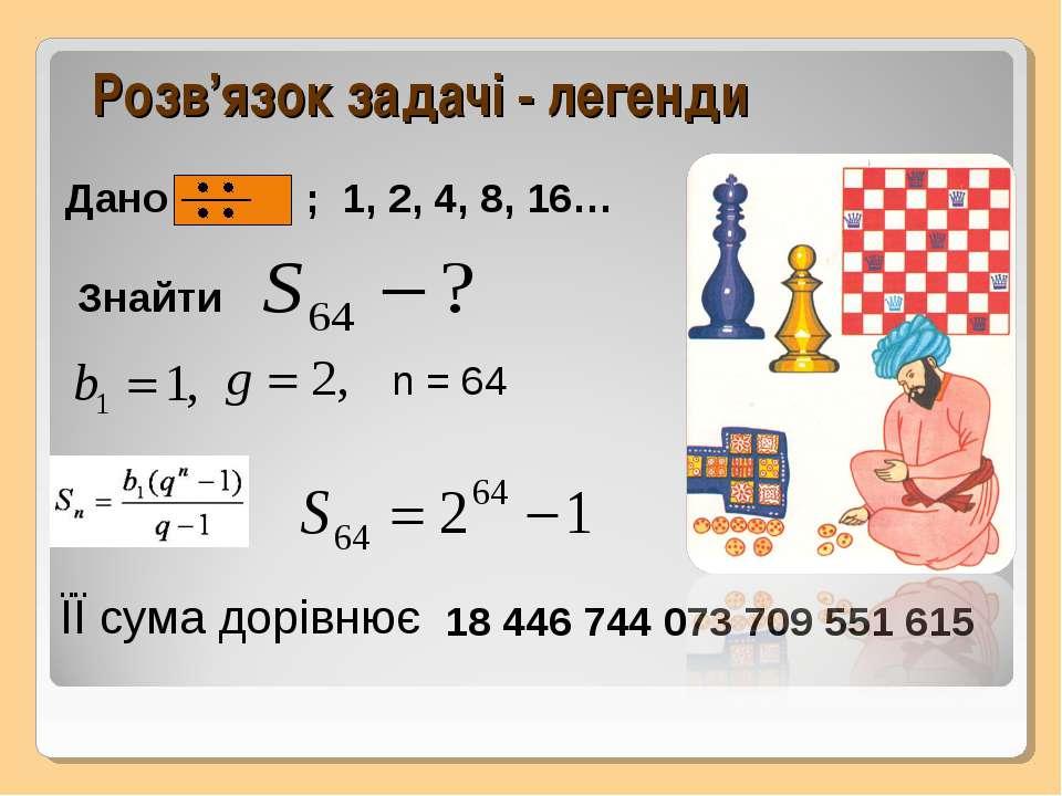 Розв'язок задачі - легенди n = 64 Знайти