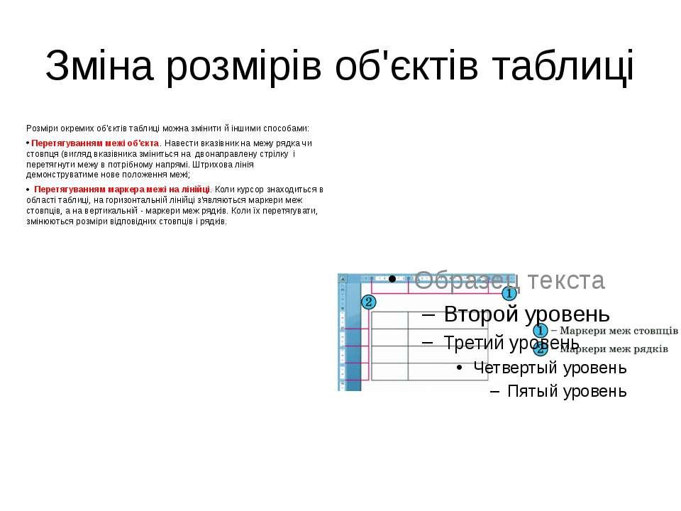 Зміна розмірів об'єктів таблиці Розміри окремих об'єктів таблиці можна змінит...