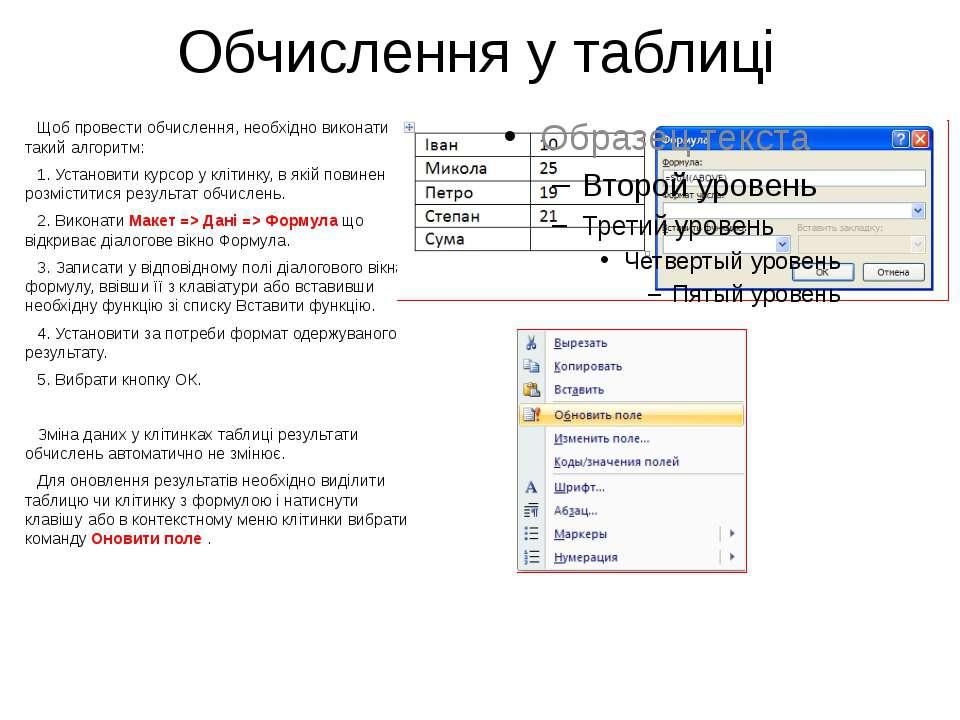 Обчислення у таблиці Щоб провести обчислення, необхідно виконати такий алгори...
