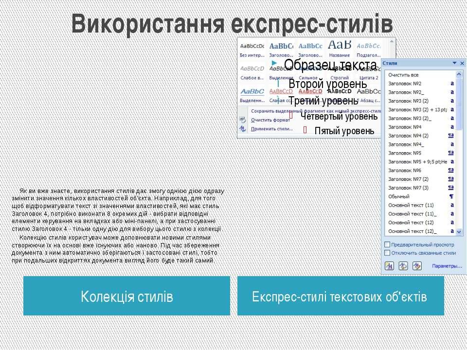 Використання експрес-стилів Колекція стилів Експрес-стилі текстових об'єктів ...