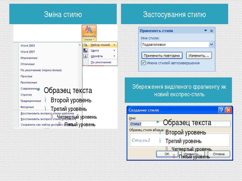 Зміна стилю Збереження виділеного фрагменту як новий експрес-стиль Презентаці...