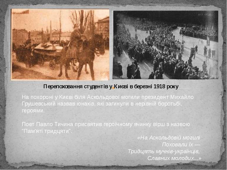 На похороні у Києві біляАскольдової могилипрезидентМихайло Грушевськийназ...