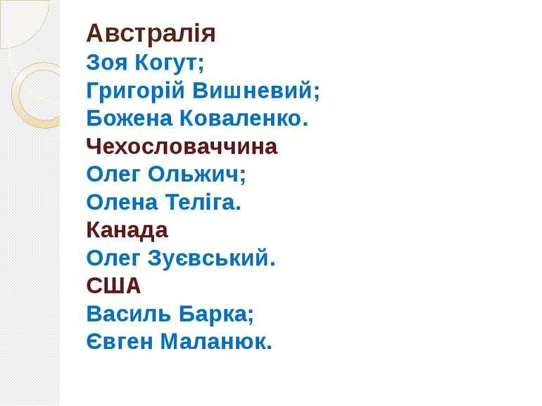 Австралія Зоя Когут; Григорій Вишневий; Божена Коваленко. Чехословаччина Олег...