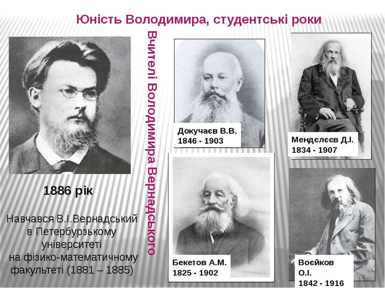 Юність Володимира, студентські роки 1886 рік Навчався В.І.Вернадський в Петер...