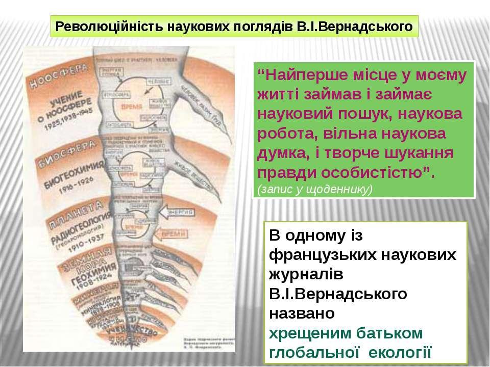 """Революційність наукових поглядів В.І.Вернадського """"Найперше місце у моєму жит..."""
