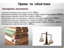 Права та обов'язки Міжнародні документи: Загальна декларація прав людини (ООН...