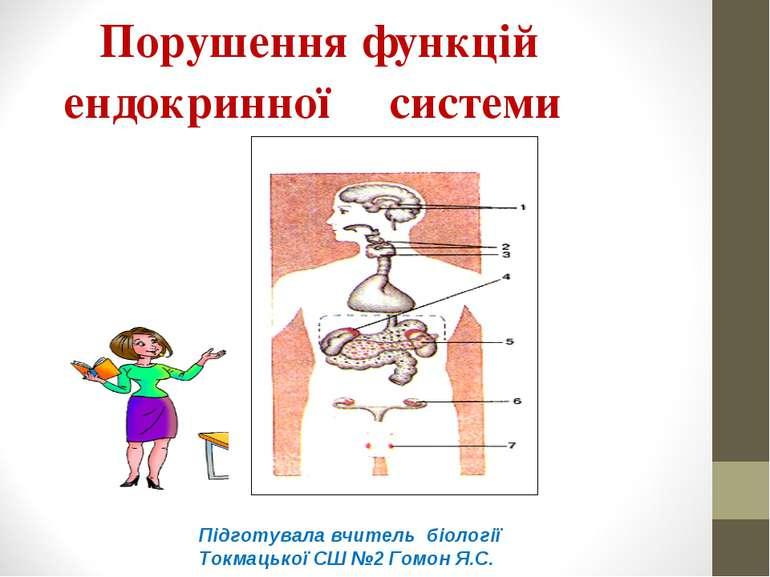 Порушення функцій ендокринної системи Підготувала вчитель біології Токмацької...