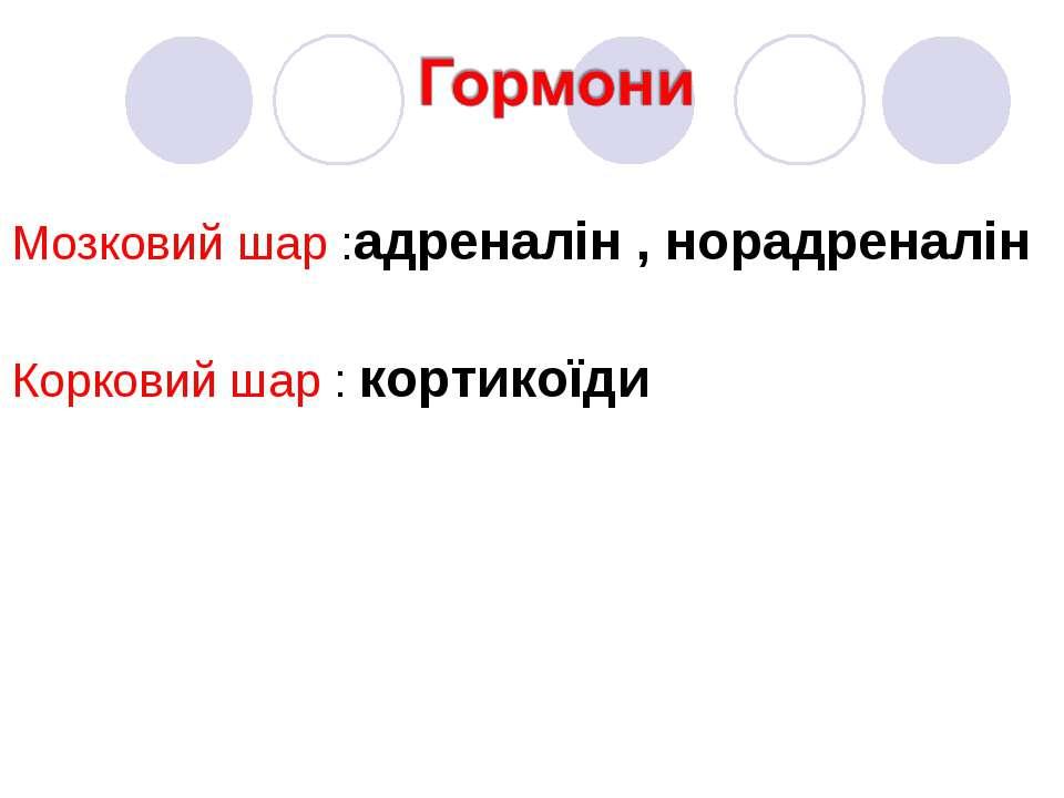 Мозковий шар :адреналін , норадреналін Корковий шар : кортикоїди
