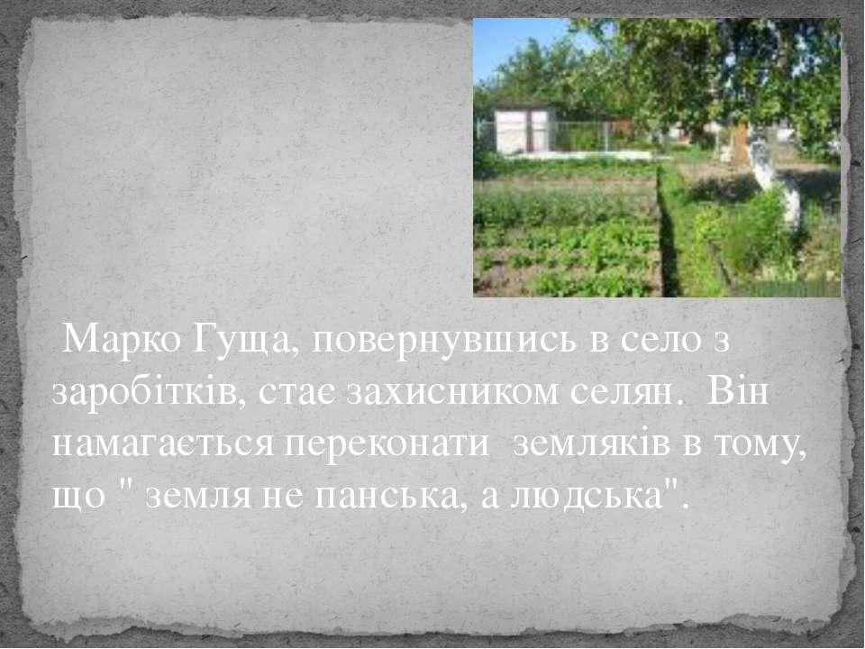 Маpко Гуща, повеpнувшись в село з заpобітків, стає захисником селян. Він нама...