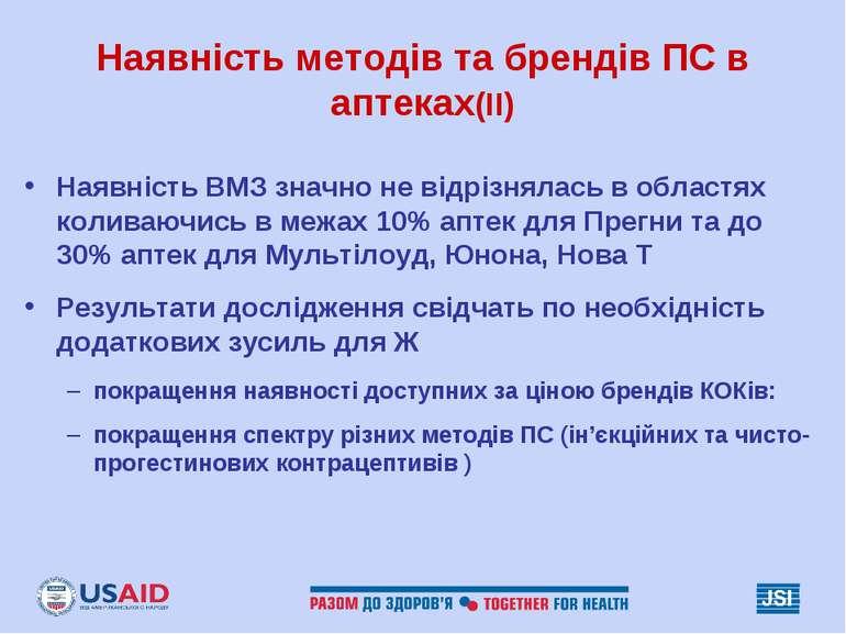 Наявність методів та брендів ПС в аптеках(II) Наявність ВМЗ значно не відрізн...