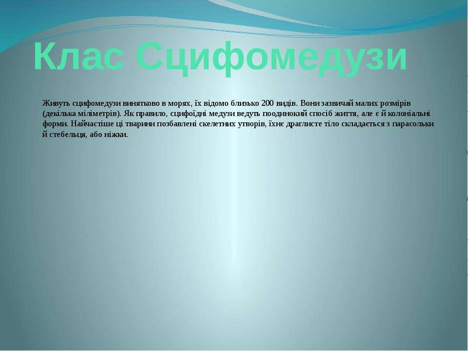 Клас Сцифомедузи Живуть сцифомедузи винятково в морях, їх відомо близько 200 ...